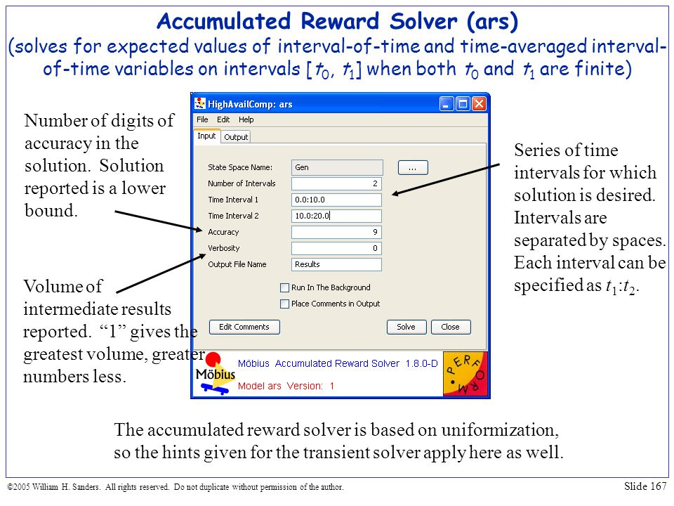 Accumulated Reward Solver (ars) (solves for expected values of interval-of-time and time-averaged interval-of-time variables on intervals [t0, t1] when both t0 and t1 are finite)